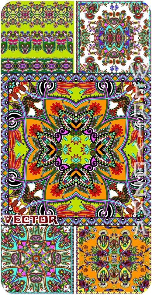 Разноцветные узоры, орнаменты в векторе / Multi-colored patterns, ornaments vector