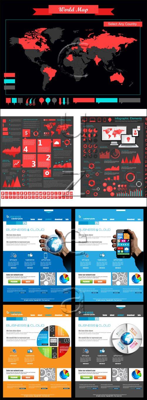 Infographic collection, 69 - vector stock