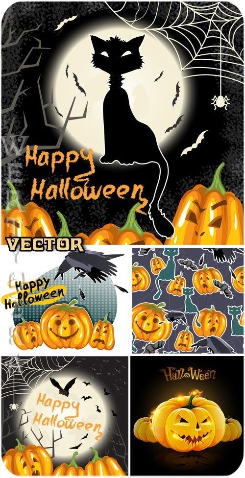 Черная кошка и тыквы на Хеллоуин - векторный клипарт