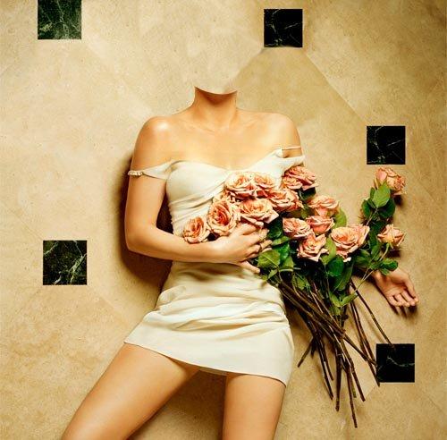 Шаблон женский - Девушка с розами