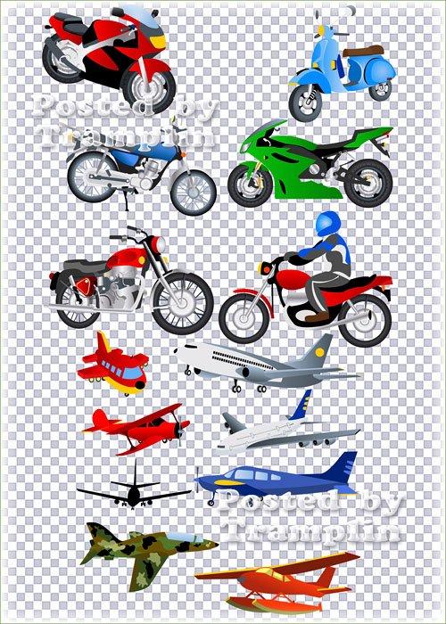 Клипарт в Psd – Нарисованные мотоциклы и самолеты