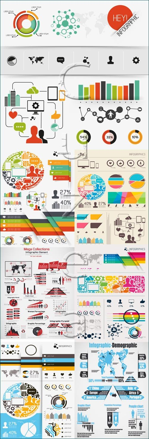 Infographic collection, 66 - vector stock