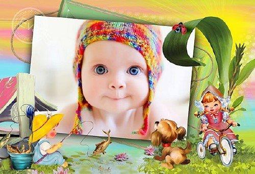Детская рамка для фотографий - Малыши на рыбалке