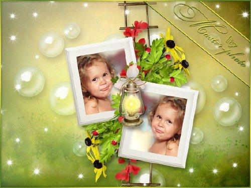 Рамка для фотошопа детская - На две фотографии с пузырями