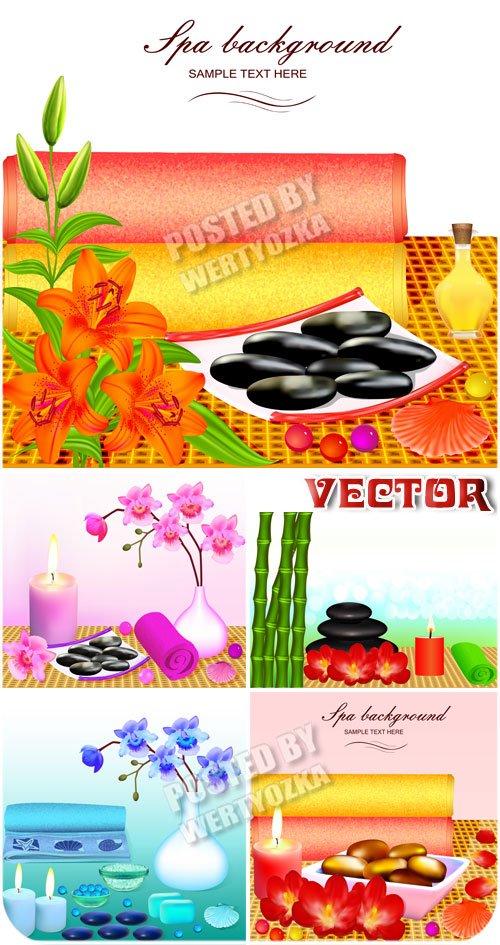 Спа фоны с цветами, камнями и свечами / Spa background with flowers, stones and candles - vector