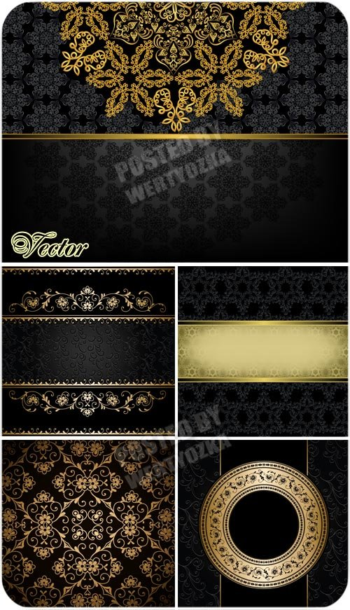Черные фоны с золотом, узоры, орнаменты / Black background with gold - vector