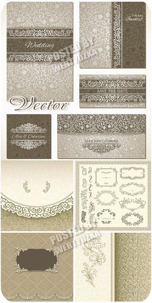 Свадебные фоны, винтажные рамки орнаменты / Wedding backgrounds, vintage frame ornaments - vector