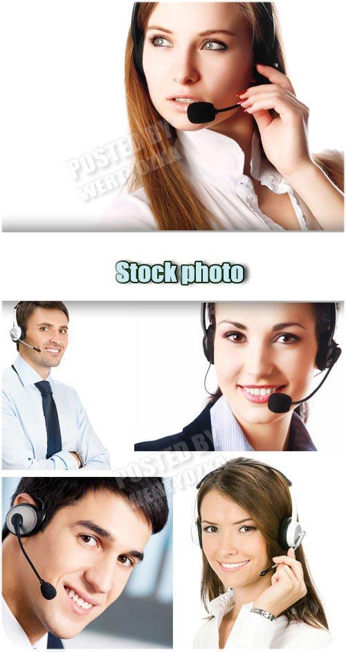 Мужчины и женщины, операторы / Men and women, operators - Raster clipart