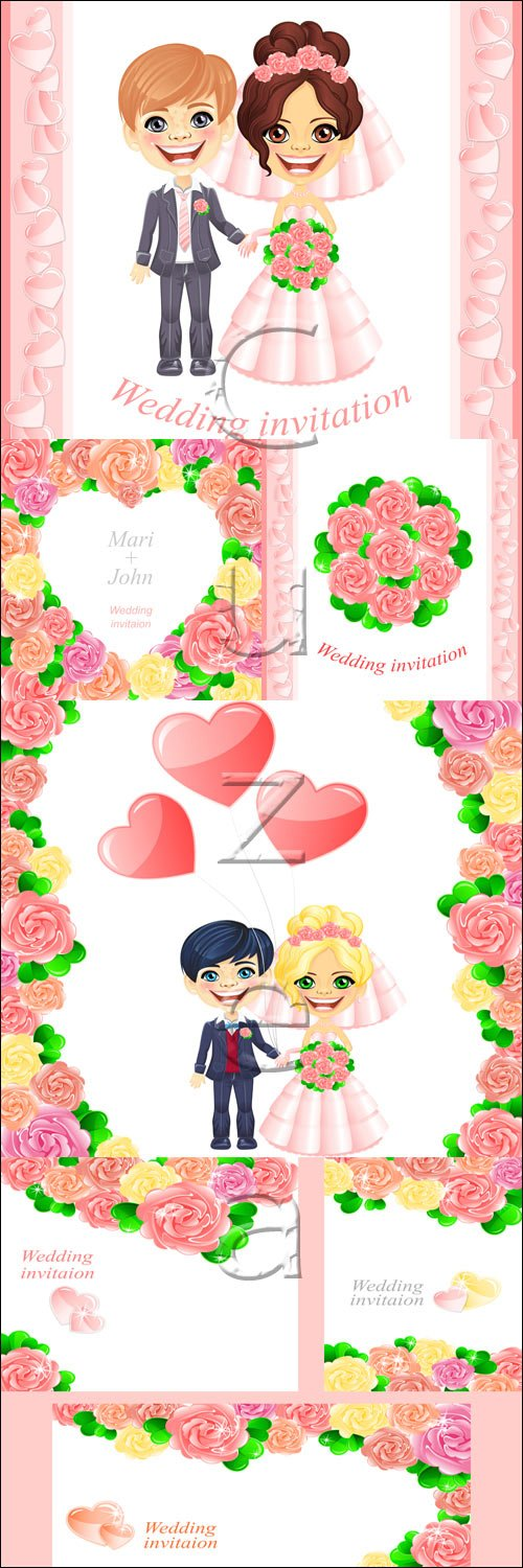 Wedding day invitation with roses - vector stock