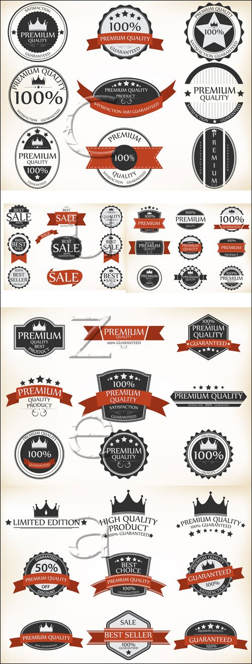 Labels for sale with ribbons - vector stock