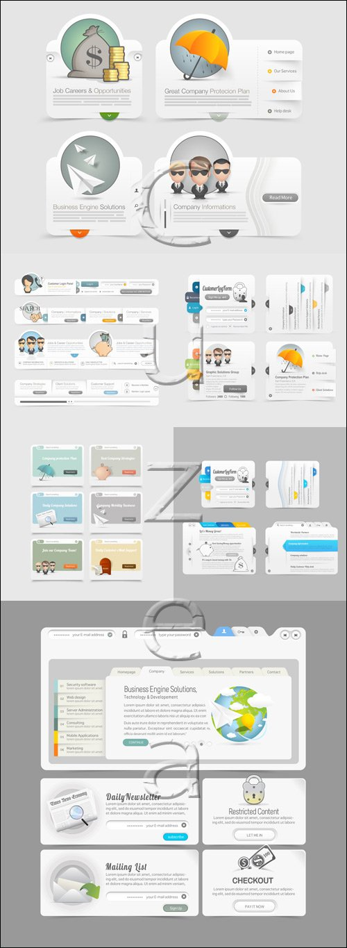 Website template design menu navigation elements with icons - vector stock