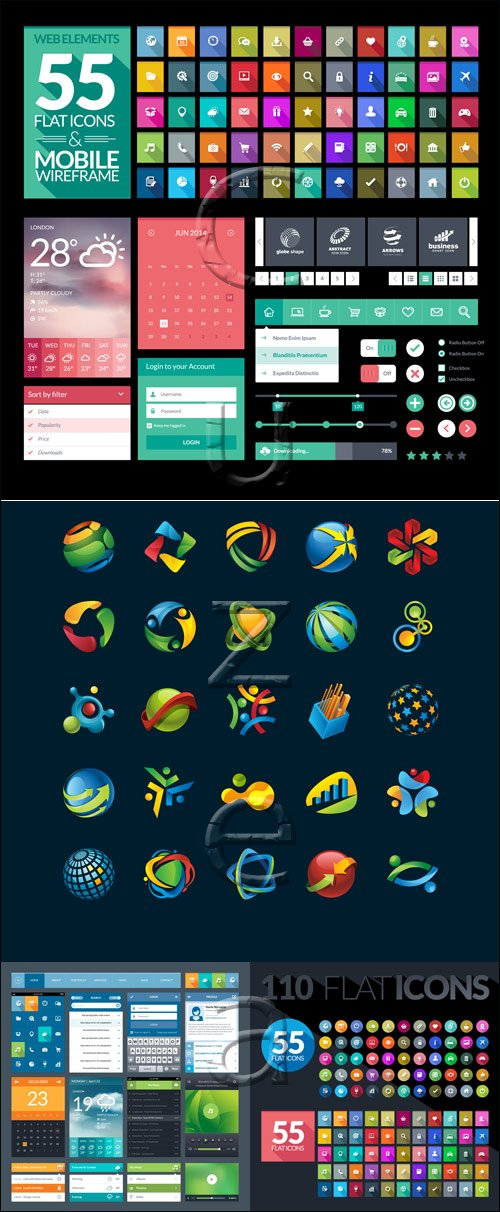 Set of flat icons for mobile app and web - vector stock