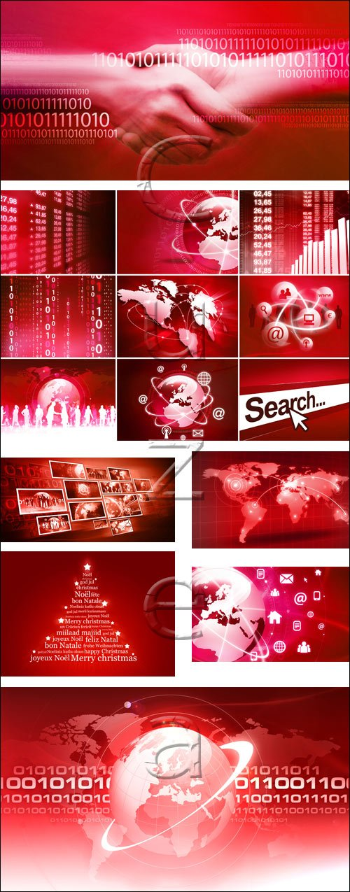 Red business  diagram - stock photo