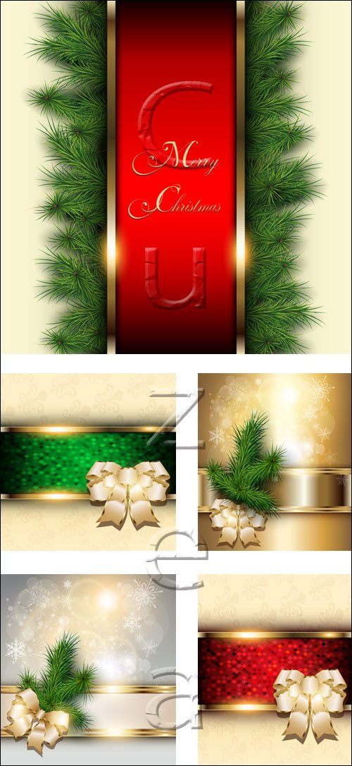 Vector holiday backgrounds with ribbons 2014