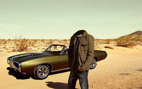 Шаблон psd - В пустыне на мощном автомобиле