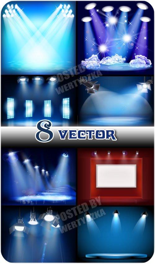 Освещение, прожектора / Lighting, spotlights - vector