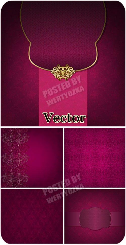 Розовые векторные фоны с узорами и золотым декором / Pink vector backgrounds