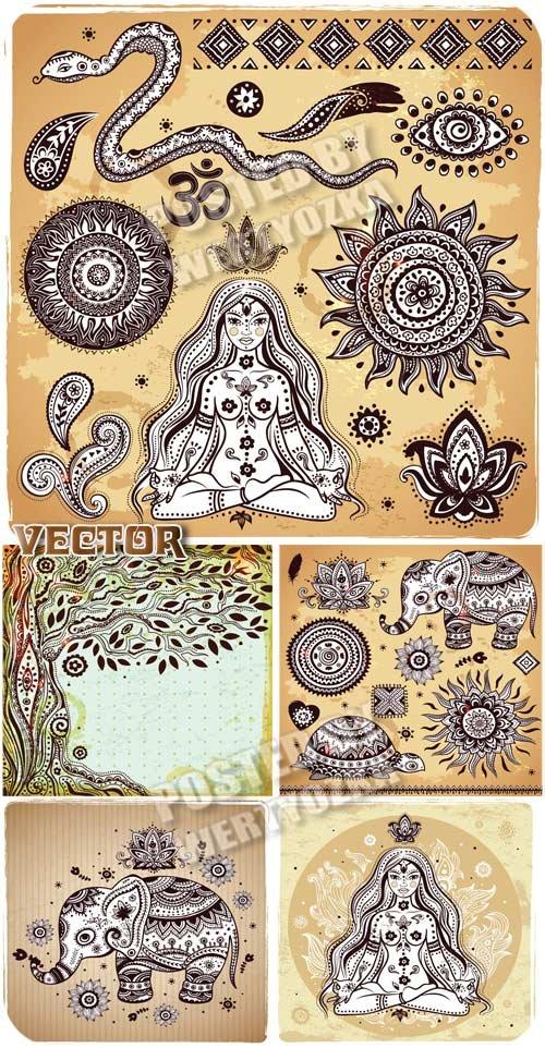 Индийские символы, змея, слоник, черепаха / Indian symbols, snake, elephant, turtle - vector