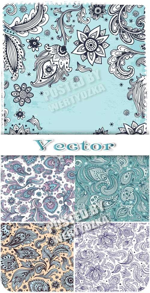 Векторные фоны с цветочными узорами, цветы и листья / Vector background with floral patterns