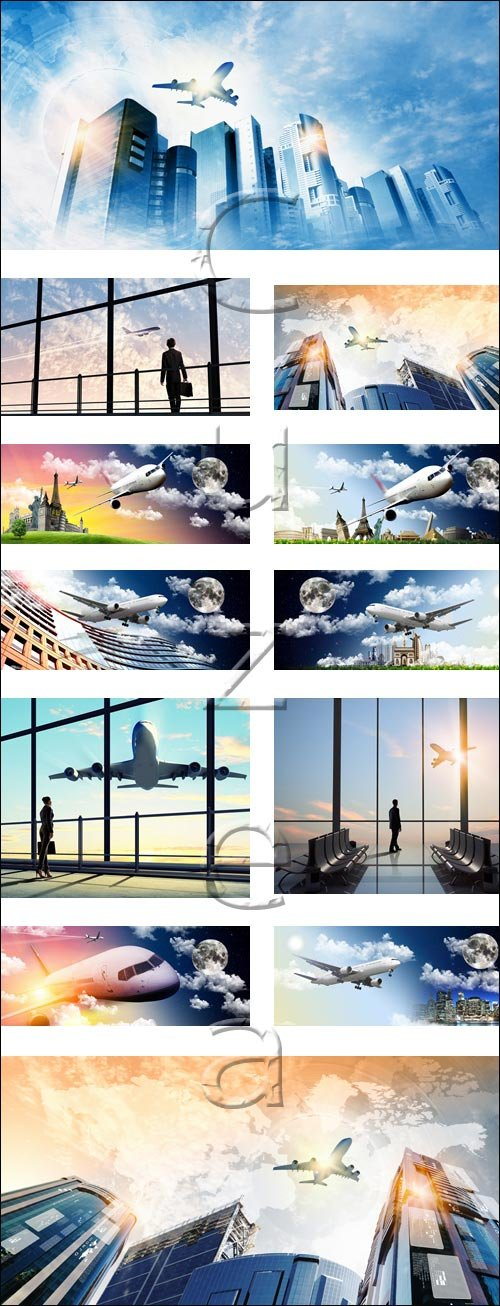 Plane collage stock photo