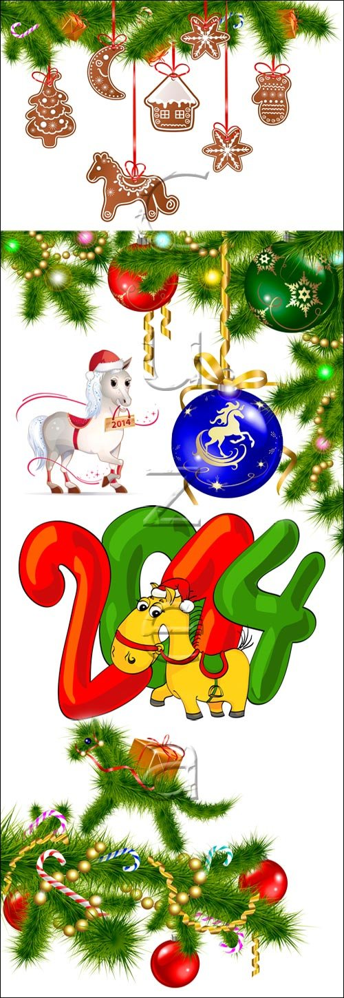 Green horse for new year holidays - vector stock