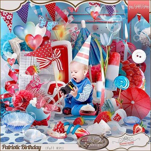 Яркий праздничный скрап-комплект - Patriotic Birthday