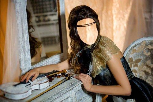 Шаблон psd женский - Брюнетка в наряде со скрипкой
