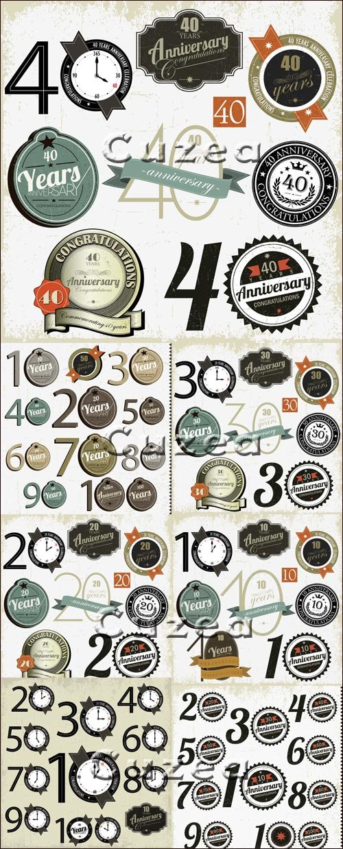 Vector anniversary stickers with numeration