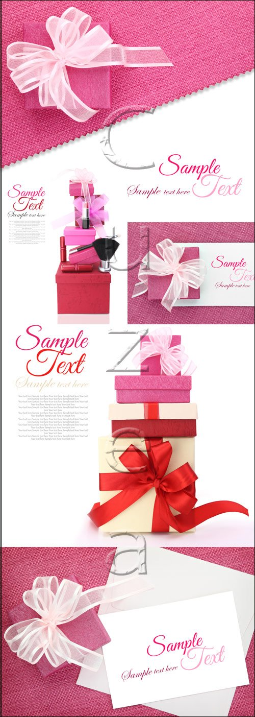Gifts with ribbons - stock photo
