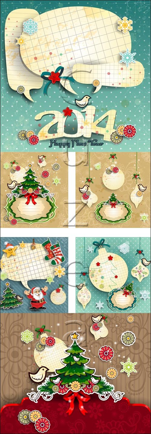 Merry cristmass elements 2014 - vector stock