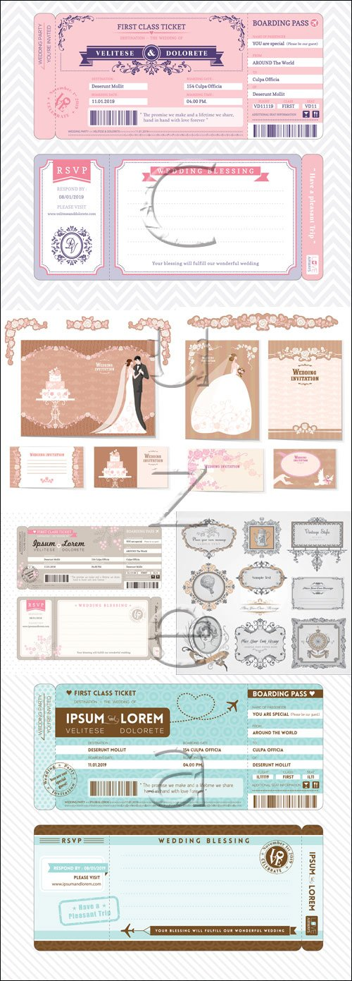 Wedding insriptions and invitations frame, 15 - vector stock