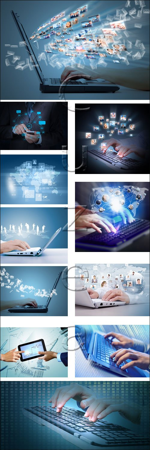 Hands with a computer keyboard, 5 - stock photo