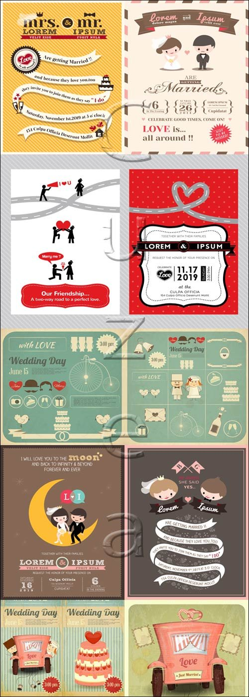 Wedding insriptions and invitations frame,16 - vector stock