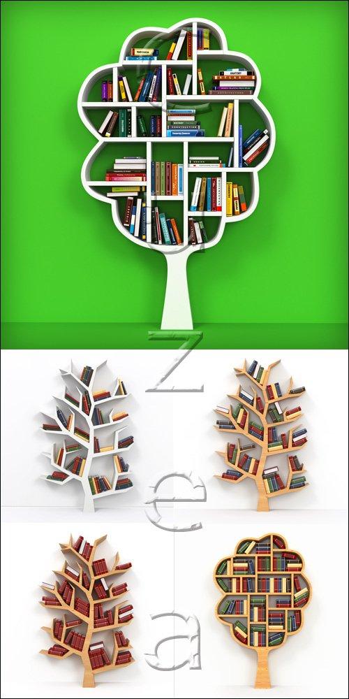 Bookshelf on white background - stock photo