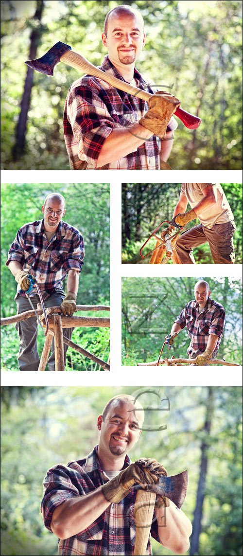 Woodcutter in the forest - stock photo