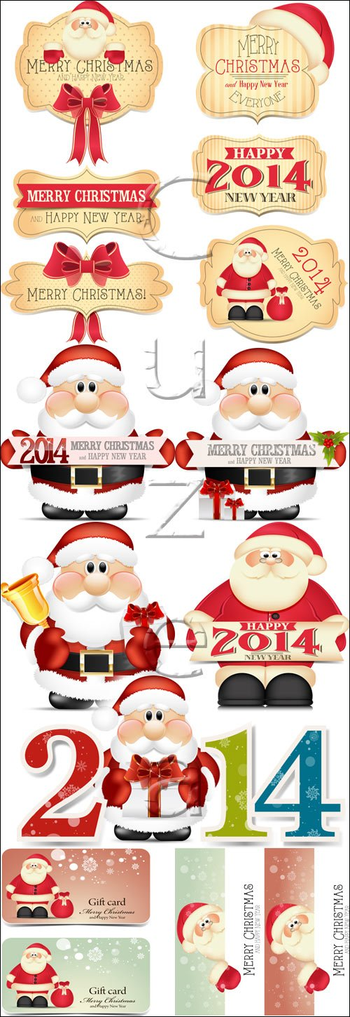 Santa and 2014 insriptions, 2 - vector stock