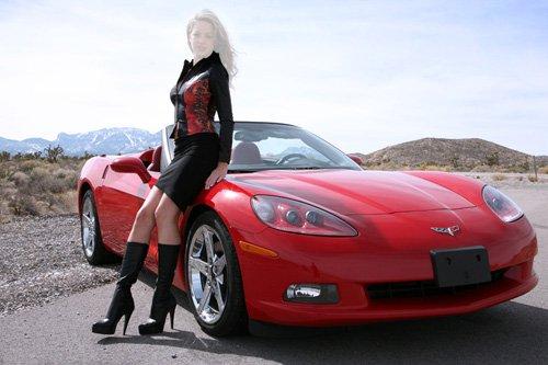 Шаблон для фотошопа - Девушка и дорогой Corvette