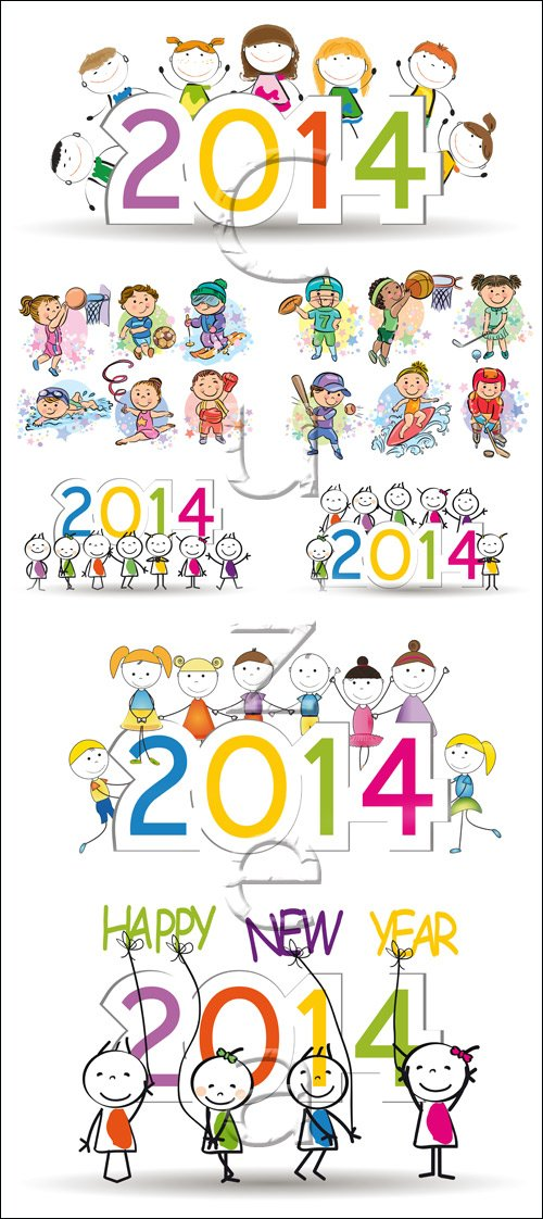 Child  and New Year2014 - vector stock