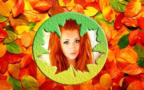 Рамка для фотошоп - Осенний лист