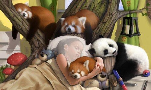 Детский шаблон - Крепкий сон среди милых животных