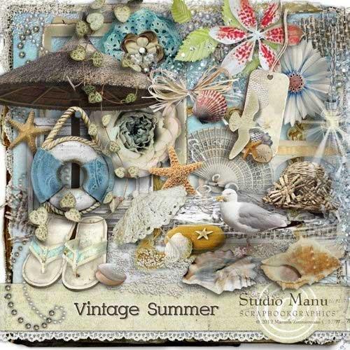 Морской скрап-комплект - Vintage summer
