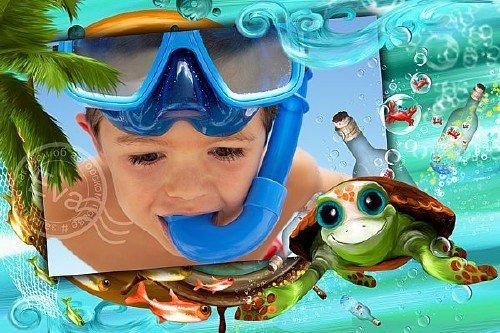 Детская фоторамочка - Веселая морская компания
