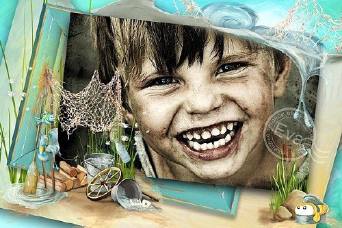Детская рамочка для фотошопа - Веселое детство
