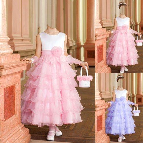 Шаблон для фотомонтажа - Девочка в нарядном платье