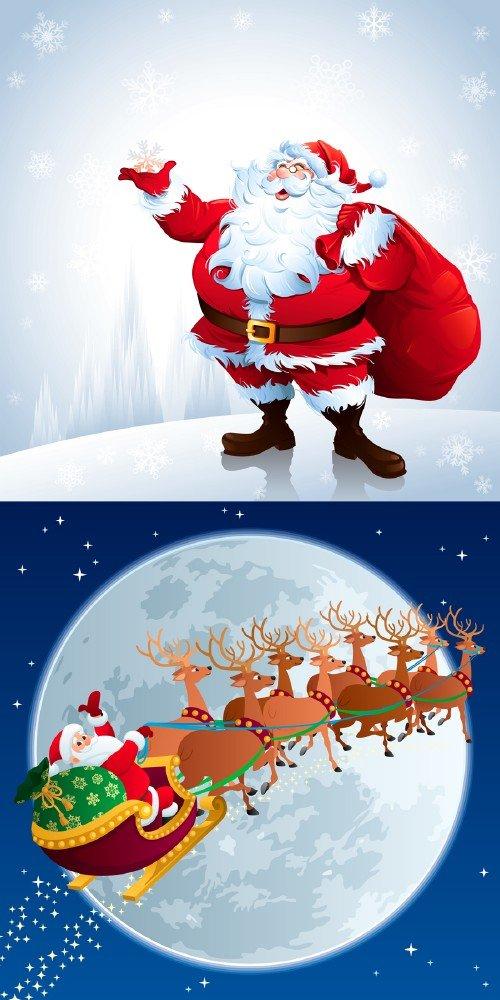 Новогодние многослойные psd исходники - Дед мороз на крайнем севере