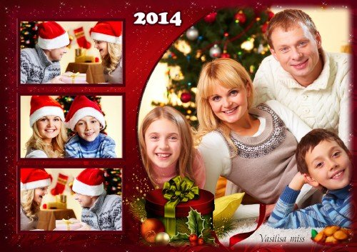 Новогодний коллаж - рамка - Встретим праздник всей семьёй[