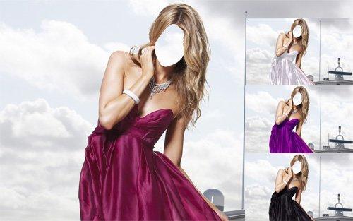 Женский шаблон - Блондинка в платье на корабле