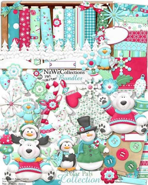 Детский зимний скрап-комплект - Полярная дружба