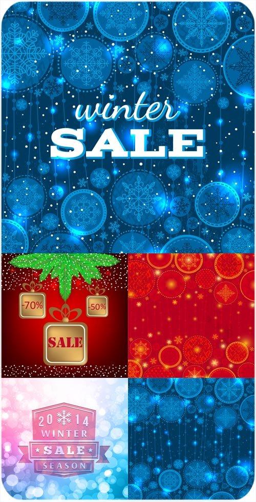 Зимние распродажи, векторные фоны
