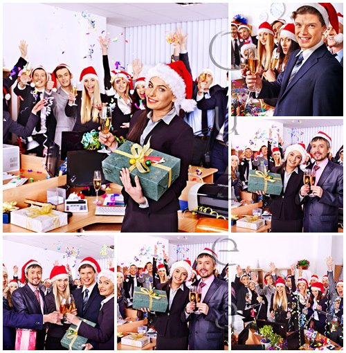 Stock photo : People selebrated christmas and New year in the office